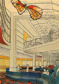 Sketch for the galleria at the New Children's Hospital, Westmead, by Bligh Voller Nield.