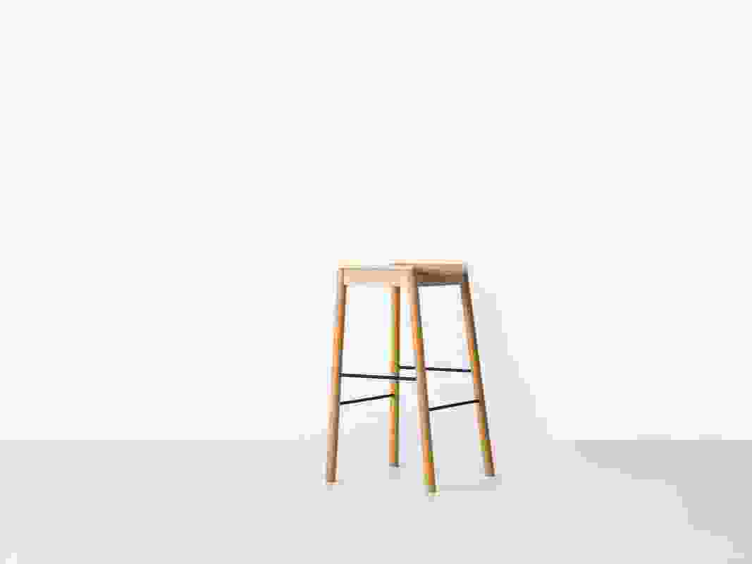 Tangerine Stool by Simon James has a lightweight appearance, tempered by robust steel crossbars.