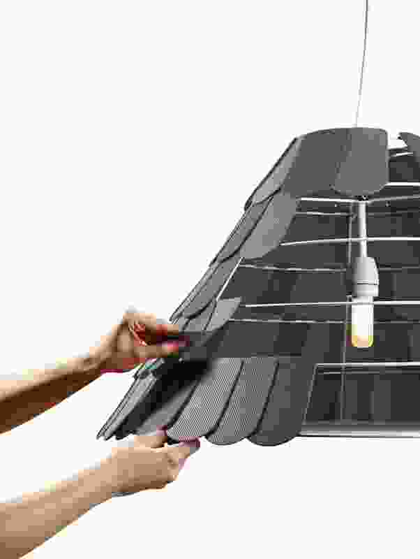 Roofer is made of a series of wire frames covered in silicone tiles.