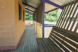 Variations on a house type at Doomadgee. Three house types were built here, with variations including open or enclosed kitchen/living relationships, verandah arrangements, egress, and bedroom adjacency relationships. Photographs Kerry Trapnell.