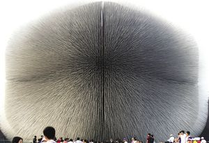 The UK pavilion, designed by Heatherwick Studio, consisted of 60,000 crystalline spines.