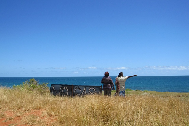 Sophie Denham and Jane Augustine at James Price Point / location of the LNG precinct.