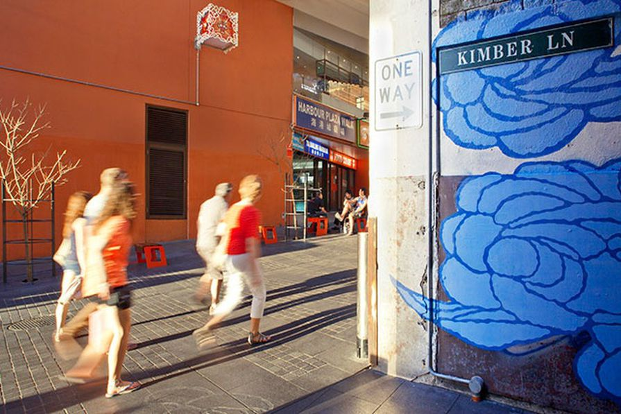 Jason Wing's Between Two Worlds mural links Little Hay Street and Kimber Lane in Chinatown, Sydney.