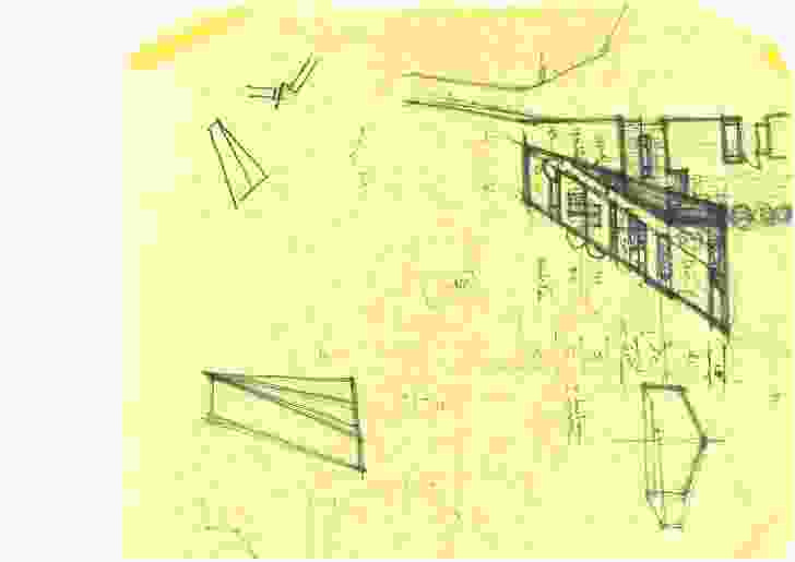 """Initial sketch for Shearer's Quarters at """"Waterview"""" Bruny Island."""