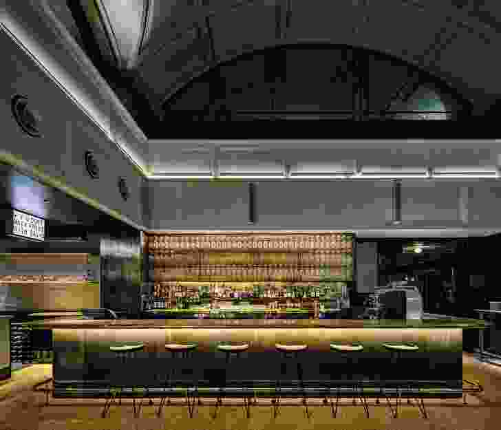 The Trader's Bar features brass fittings and is reminiscent of a gentlemen's club.