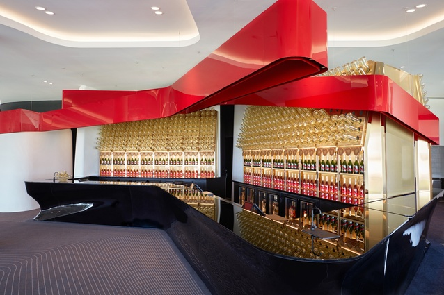 A bar in the Victorian Racing Club's new club stand by Bates Smart.