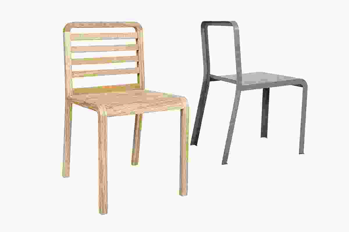 Twin Chairs sit seamlessly atop one another to create a new form.