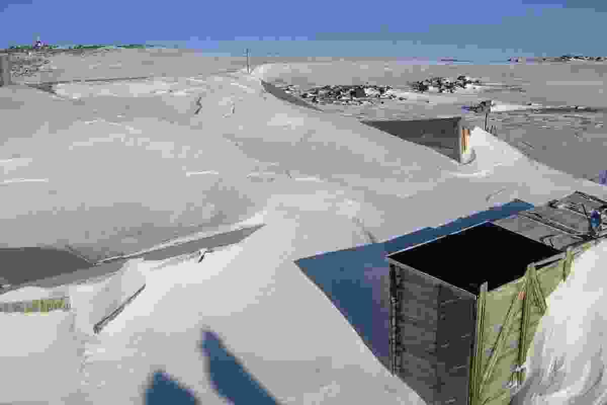 Snow loading engulfed Scott's Terra Nova Hut  at Cape Evans.