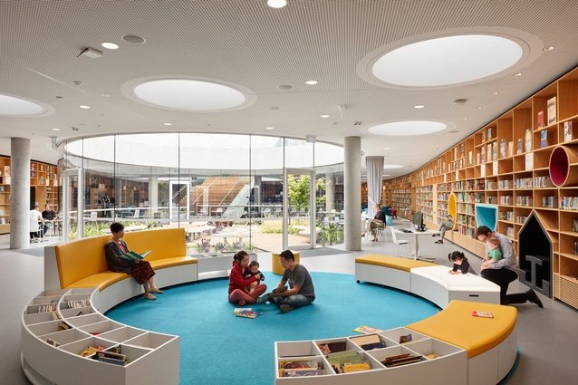Green Square Library and Plaza by Stewart Hollenstein in association with Stewart Architecture includes a central circular garden.