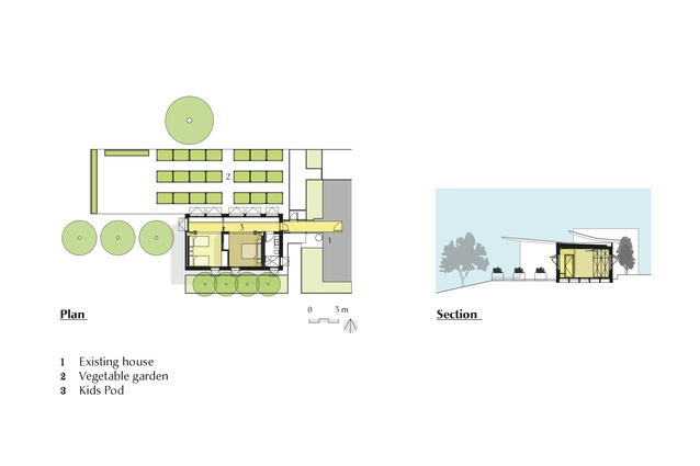 Plan and section of the Kids Pod by Mihaly Slocombe.