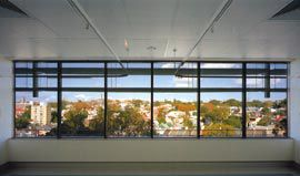 View over the city to the east from a patient bedroom.