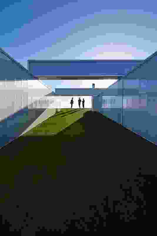 In a similar configuration to the entry sequence, the turf roof deck inclines up to a view of the ocean.