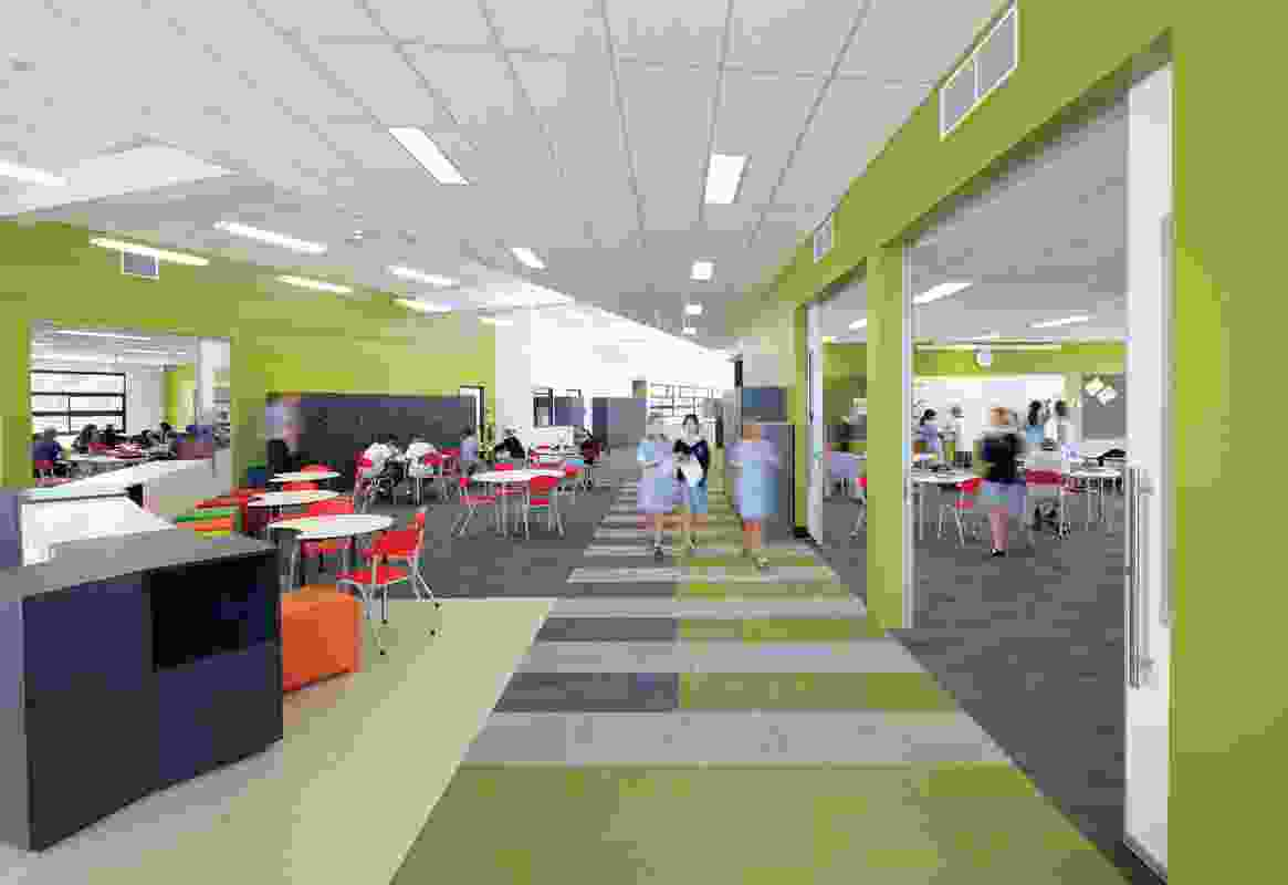 Flexible spaces at Alkira secondary college by Hayball and Gray Puksand.