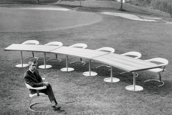 Kjell Grant and his Montreal chair, designed for the Australian Pavilion at Expo67.