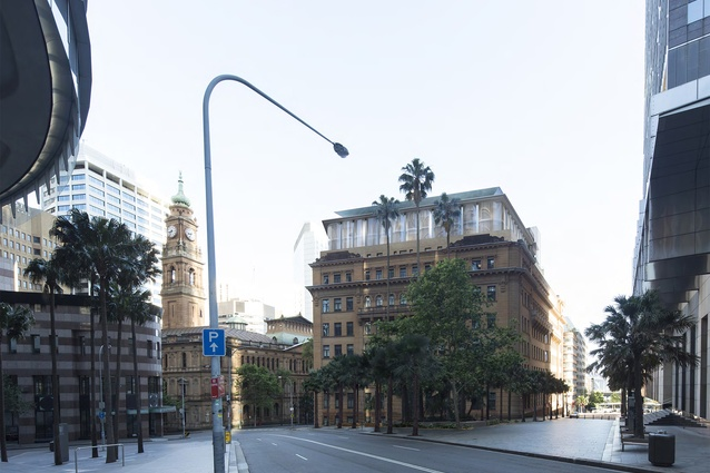 The proposed redevelopment of Sydney's historic sandstone buildings by Make will repurpose the Department of Lands building (left) and the Department of Education building (right).