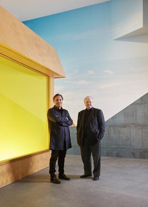 Hakan Elevli (left) and Glenn Murcutt AO (right) at Glenn Murcutt: Architecture of Faith at The Ian Potter Centre: NGV Australia, 9 August 2016 – 19 February 2017.
