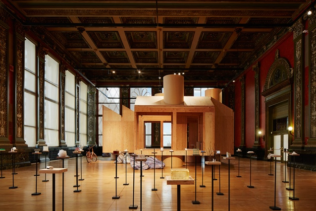 Corridor House by MOS Architects (at rear), Chicago Architecture Biennial 2015.