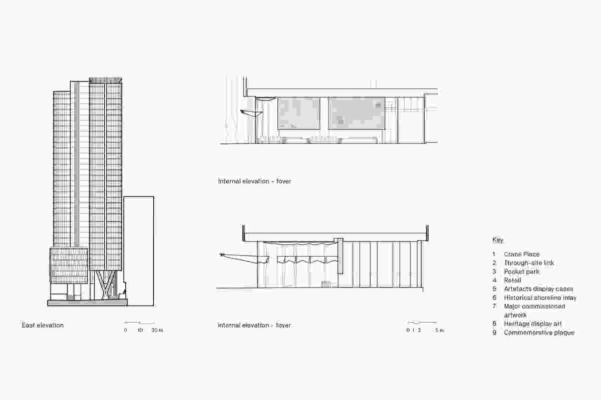 Plans, elevation and internal elevations of the EY Centre by FJMT.
