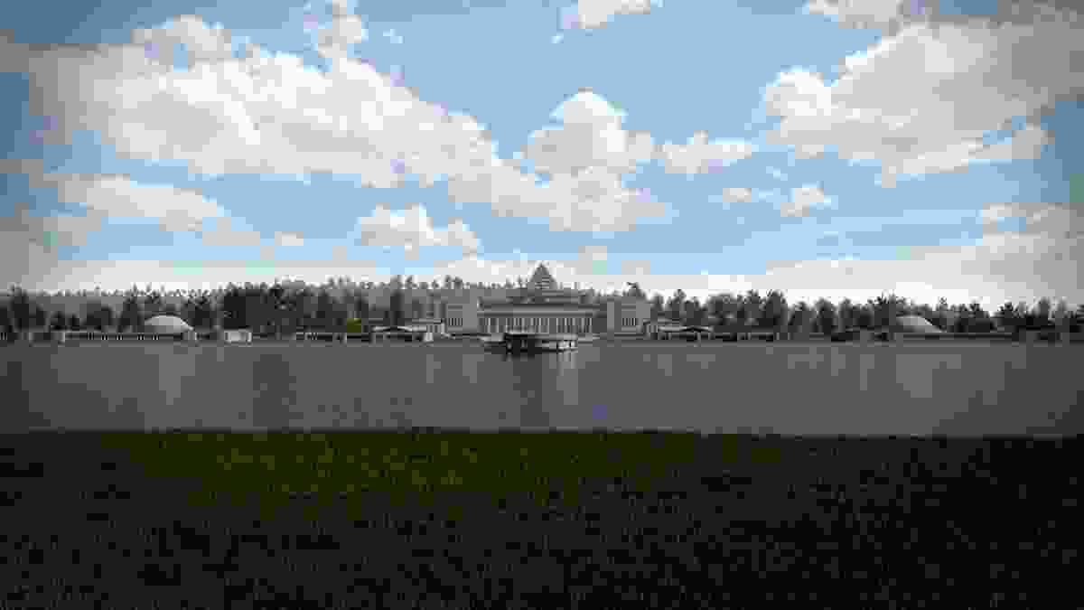 The Capitol in Canberra by Walter Burley Griffin and Marion Mahony Griffin (1914) Digital reconstruction by Craig McCormack.