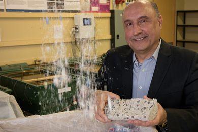 "Riyadh Al-Ameri of Deakin University with his medical waste-derived ""concrete."""