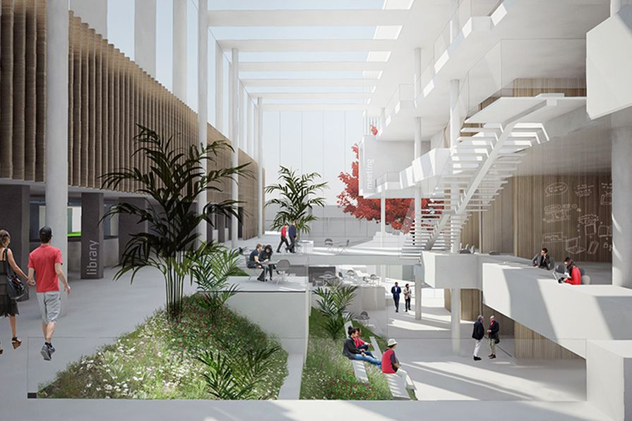 The main building will link two platforms using a series of stairs and tiers, and will also incorporate an indoor garden to reflect its tropical location.