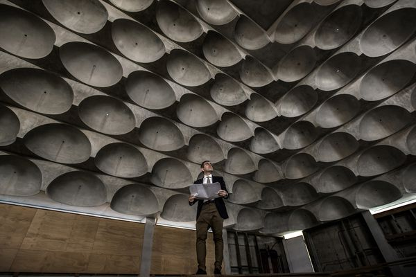 Architect Angelo Candalepas in the nearly complete mosque at Punchbowl.