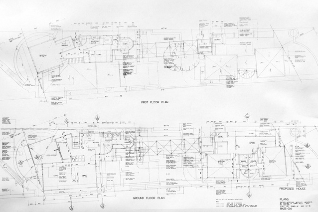 Original plans for Pitt Point House by Ken Woolley of Ancher Mortlock and Woolley, 1985.