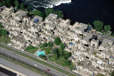 Aerial view of Moshe Safdie's groundbreaking Habitat '67 housing in Montreal.
