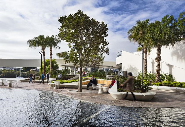 The shallow pool is part of the original plaza design by Harry Seidler & Associates.