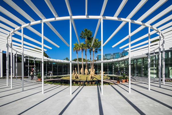 The new Calyx structure designed by PTW Architects and McGregor Coxall in the Royal Botanic Gardens Sydney.