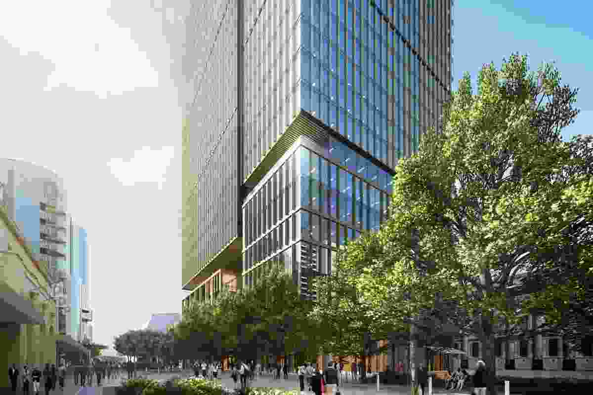 The proposed office tower designed by Bates Smart will be situated at the edge of a redeveloped Adelaide Festival Plaza.