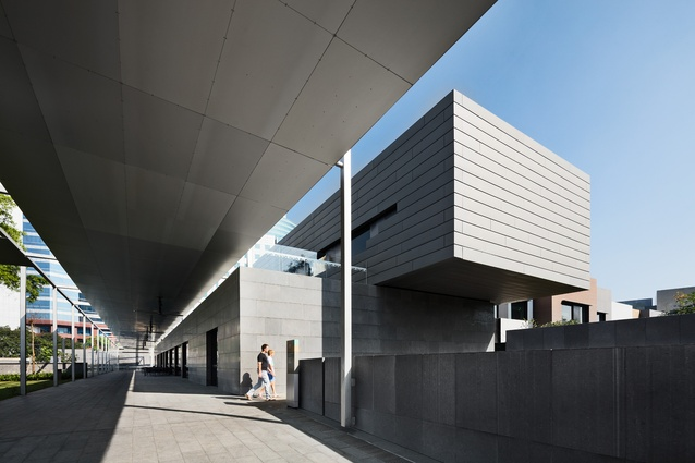 The recreation centre draws reference to DCM's Melbourne Museum with the cantilevered aluminium extrusion.