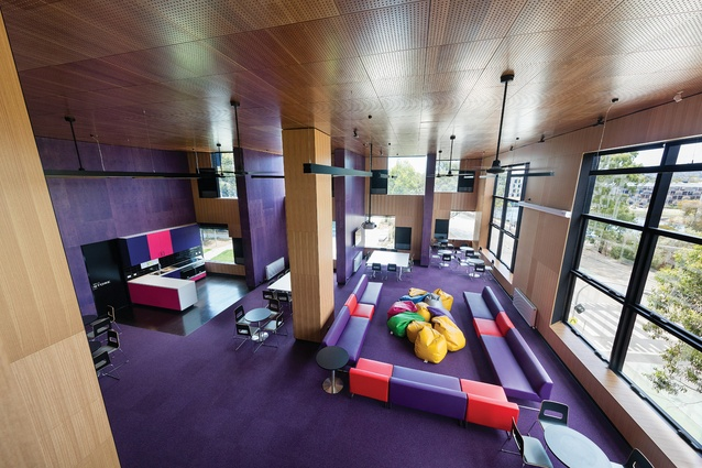 Large double-height common/games rooms in McBride Charles Ryan's Logan Hall provides the students with lively community spaces.