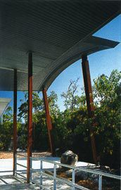 Metal sun baffles and deep overhangs contribute to the passive environmental strategy. Image: Patrick Bingham-Hall
