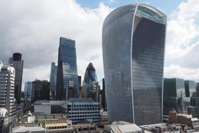 In the City of London, the forms of many buildings have been determined by planning restrictions that aim to protect views to St Paul's Cathedral. Shown here are the Cheesegrater, the Gherkin and the Walkie-Talkie.