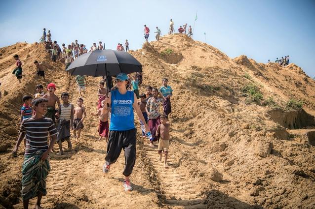 Phoebe Goodwin at the Balukhali refugee camp in Cox's Bazar, Bangladesh.