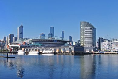 A panoramic view across Melbourne's Victoria Harbour, which may be brought to life using ferries and heritage ships under a Hassell master plan.