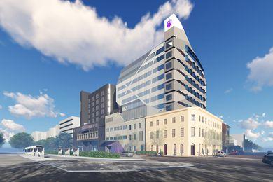 The St Vincent's Hospital Melbourne building by Billard Leece Partnership.