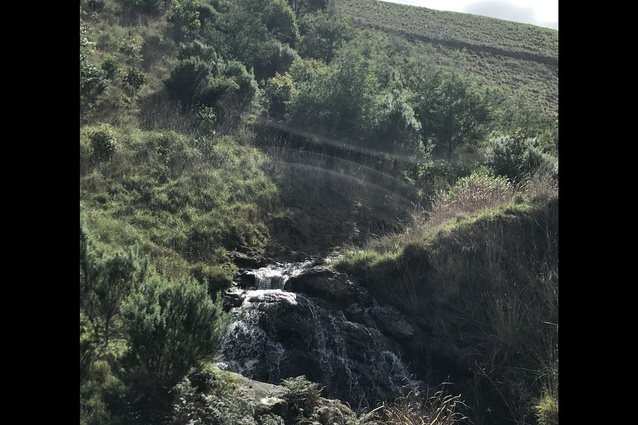 The small waterfall on the property.