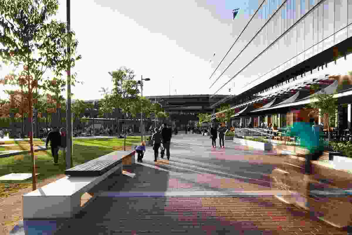 The boulevard prioritizes pedestrian connections through the site.