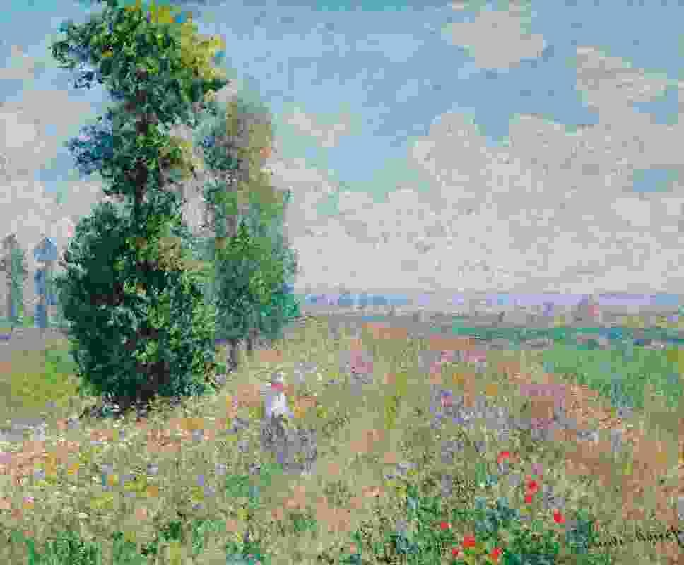 Claude Monet,与杨树的草甸。