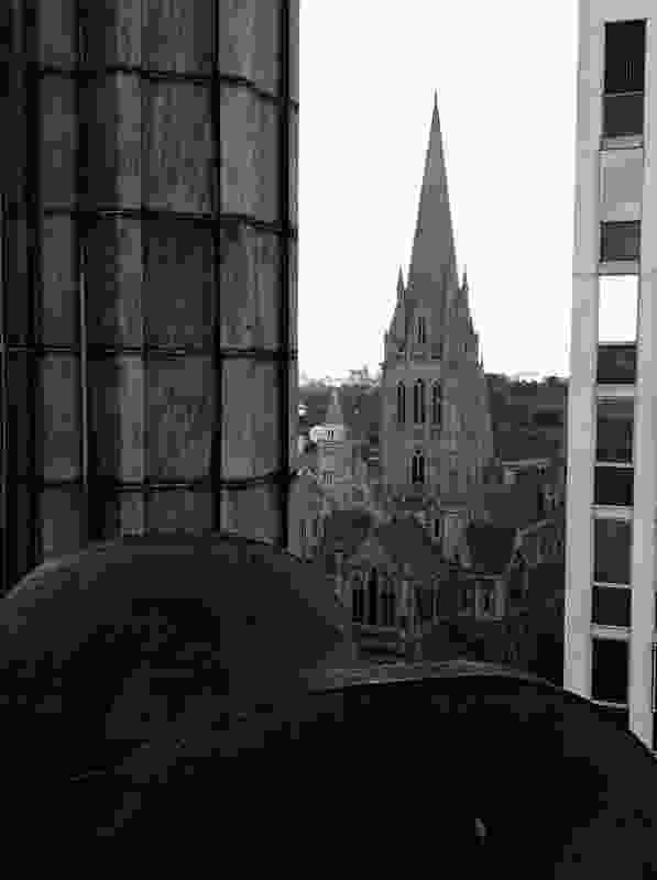 A glimpse of the city from the Manchester Unity rooftop towards St Paul's Cathedral.