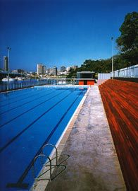 Looking along the 50-metre pool towards the north elevation, with the cafe deck overlooking the pool and the city and bay beyond.