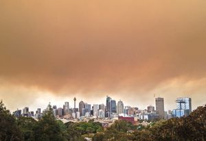 Bushfire haze over Sydney.