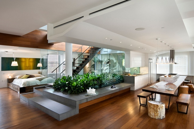 Broadway Penthouse (2008) by Joel Sanders Architect rethinks the urban garden with a planted interior ground plane leading to a roof terrace.