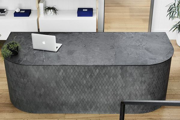The new reception desk in the Artedomus Melbourne showroom made with a Magnesia top and Polardur diamond mosaics.