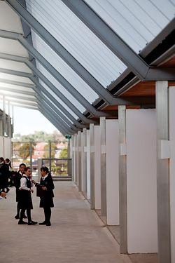 N°1 Looking along the upper-level, semi-open walkway.