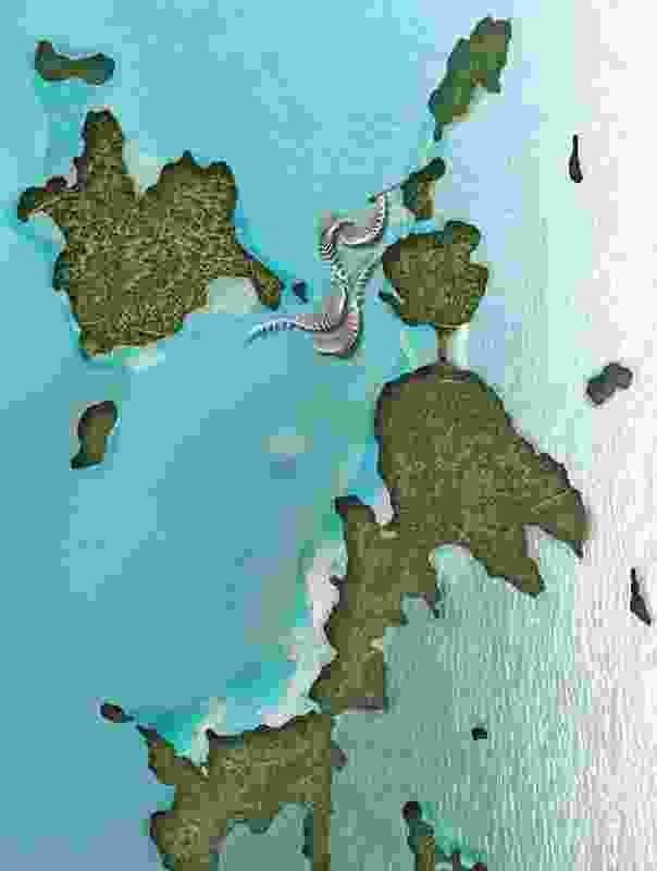 Plan of the Ridge to Reef project showing its location between two islands.