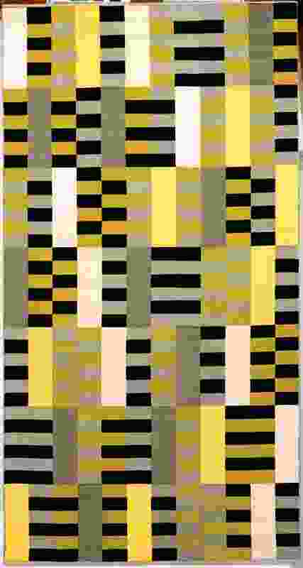 Anni Albers, Wall Hanging (black, white, yellow) Bauhaus weaving workshop number we 493/445, designed in 1926 (reproduction 1964).