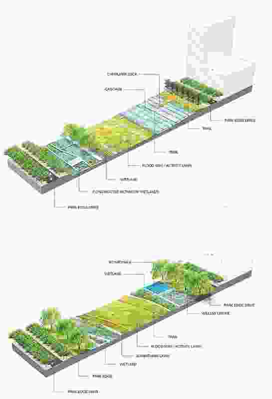 Vignettes showing the relationship between wet landscapes and green spaces.